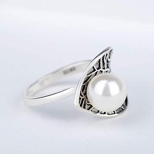 Aoligei Einstellbarer Ring Mode Blatt Retro-Bronze Thai Silber perlenring Female Mädchen Urlaub Geschenk