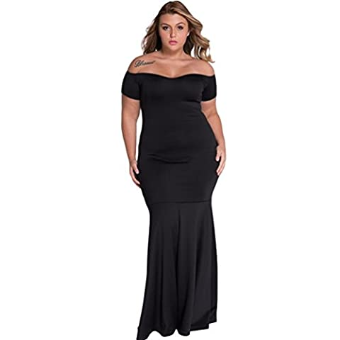 Bling-Bling Womens Black Plus Size Off Shoulder Fishtail Maxi Dress