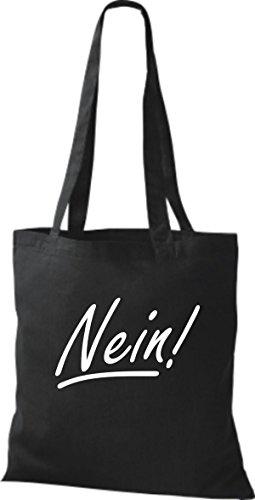 ShirtInStyle Stoffbeutel Baumwolltasche Nein!, Farbe Pink schwarz