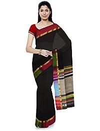 R K Chouhan Maheshwar Maheshwari Handloom Cotton & Silk Saree (Black)