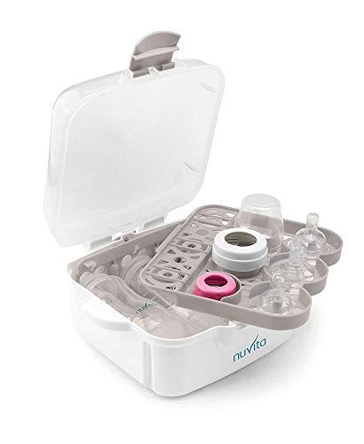 Nuvita 1085 Sterilizzatore a Vapore Microonde - Per biberon, ciucci ed accessori - Sterilizza fino a 3 biberon in 2 minuti - Compatto e portatile - Senza BPA nè Ftalati - Marchio EU - Design Italiano