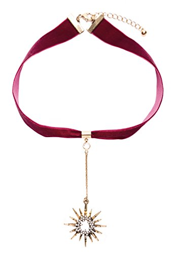 Happiness Boutique Damen Samt Choker in Rot | Choker Kette mit Anhänger in Gold (Rote Kostüm Kontakte)