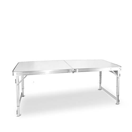 Semplice tavolo pieghevole, tavolo da campeggio, scrivania per computer, tavolo da pranzo, tavolo portatile in alluminio, 150 cm x 60 cm x 55-70 cm (colore: bianco)