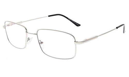 Eyekepper Lettori Progressiva 3 livelli Visione Multifocus Occhiali Anti UV Lettura Occhiali Uomini Bendable Memoria Montatura (Argento, 2.00)