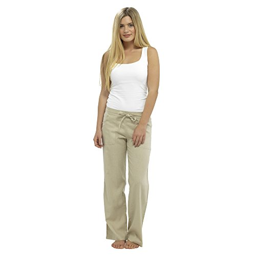 Damen Leinen Freizeithosen Urlaub elastische Taille Damen Sommer Hosen Hosen Shorts beschnitten mit Taschen (20, Stein in voller Länge)