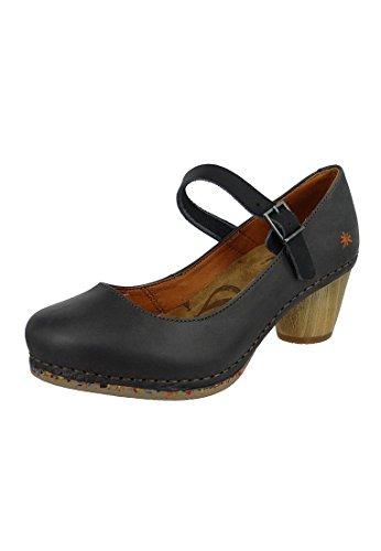Art Schuhe Pumps Leder Riemchenpumps I Laugh Black Schwarz 1113 Black