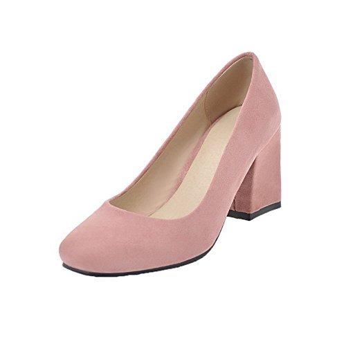 AgooLar Damen Pu Kitten-Heels Ziehen auf Schließen Zehe Pumps Schuhe, Pink, 37