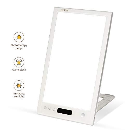 XZN Tageslichtlampe 10000 Lux, dimmbar LED mit 4 Helligkeitsstufen und Feintuning, 5 Timer Einstellung (15 Min-4 Stu), Tragbare, UV-freie, Speicherfunktion und 2 DC-Öffnungen für bequemen Anschluss