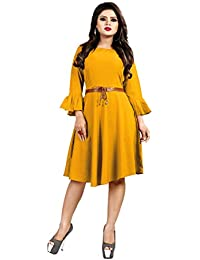 Sabaira American Crepe Fabric Yellow Color Butterfly Sleeve / 3/4Th Sleeve Fully Stitched Dress (SBRWD15_S_ Western Dress)