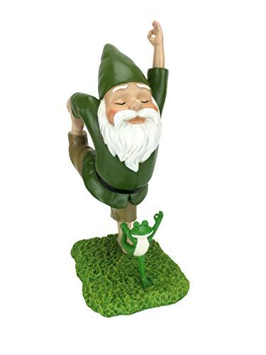 Gnomo Zen y Rana Zen - Postura Señor de la Danza - Paz y Tranquilidad para tu Jardín de Hadas y Jardín de Gnomos de GliztGlam. Figurita de Gnomo en Miniatura Talla Grande (27.94 cm)