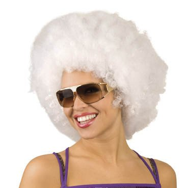 PARTY DISCOUNT Perücke-Super-Afro, weiß (Perücken Party Super)