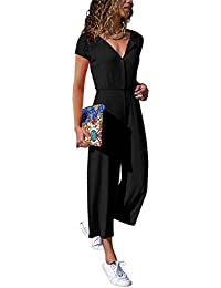 c18a792bd1 Cassiecy Women s Elegant Long Sleeve V Neck Jumpsuit Loose Casual Wide Leg  Long Romper Playsuit