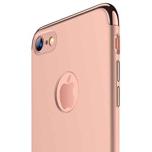 RANVOO Kompatibel mit iPhone 7 Hülle, 3-Teilige Extra Dünn Hart Slim Thin Hard Case Cover Stylich Hochwertig Schutzhülle Schale Handy Hülle, Rose Gold [3 in 1 Apple Logo sichtbar]