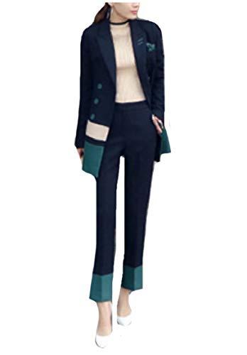 CuteRose Women Fashionable 2 Piece Double-Breasted Hit Color Pants Suit Blue S -
