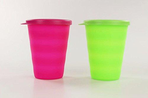 TUPPERWARE Junge Welle Trinkhalmbecher 330ml neon grün limette +neon pink Becher