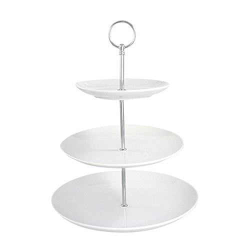 Etagere 3-stöckig ROUND weiß Porzellan 17-21-26 cm Tischdekoration gedeckter Tisch Landhaus (18 Etagere Runde)