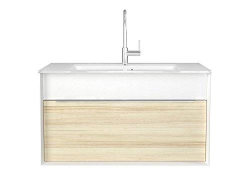 Waschtischunterschrank 110 cm breit weiß/ahorn