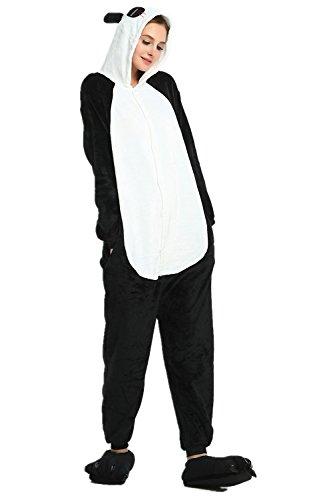 KiKa Monkey Einhorn Kostüm Pyjama Erwachsene Tier Jumpsuits Flanell Nachtwäsche Karnevals Cosplay kostüme (M, Panda)