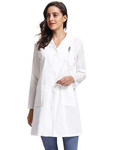 Kittel Weiß Damen Herren Laborkittel 100% Baumwolle Arzt Kostüme Apotheker Mantel Reverkragen mit Taschen 7 Größe(XS-3XL) - 4