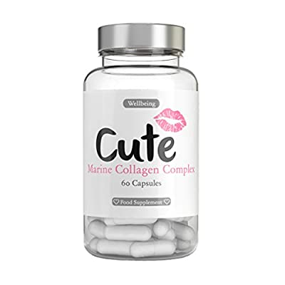 Marine Collagen Tablets For Women - High Strength Fast Acting Capsules With Hyaluronic Acid, Vitamin C & E - Wrinkle Free Skin and Healthy Hair, Nails and Joints - 60 Hydrolysed Pills by Cute Nutrition