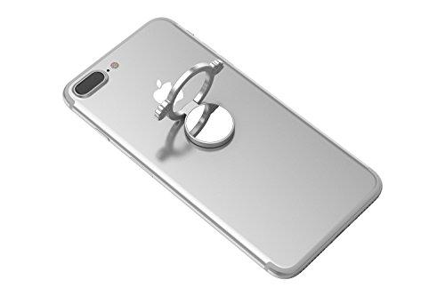 Kronya® | 360° drehbarer Smartphone Fingerhalter | Case Finger Griff Halter Halterung Handy Hülle Ring Ringhalter Ständer Tablet | Kompatibel mit Apple iPhone iPad Samsung Galaxy | 6 (Silber)