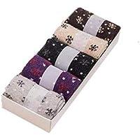Asremit Calcetines de Felpa para Mujer Calcetines de Lana de Cachemira Ocasionales Día de San Valentín 5 Pares (Caja de Regalo)