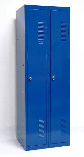 SPIND-2 (Doppel) 180x60 cm, 2 Böden, Vorhängeschloss (RAL5010) blau (Kleiderspind...