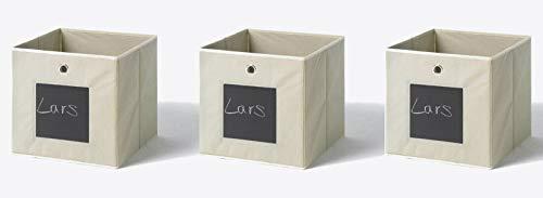 Furndirect24 3er Set Faltbox mit Tafel zum beschriften Klappbox 32x32x32 Regal Kiste Aufbewahrungs Box (Natur)