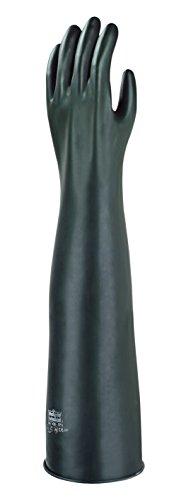 Ansell Emperor ME108 Gants en latex de caoutchouc naturel, protection contre les produits chimiques et les liquides, Noir, Taille 9.5 (Sachet de 1 paire)