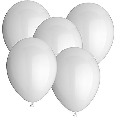 Premium Luftballons Gummiballons Latexballons 20 Stück - Ø 30cm - geeignet als Heliumballon mit Helium - freie Farbauswahl - Weiss Rot Hellblau Blau Dunkelblau Gelb Limonengrün Grün Orange Lachs Pink Rosa Lila Schwarz Klar Durchsichtig Transparent (Weiss)