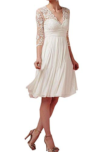 Aurora dresses Damen V-Ausschnitt Hochzeitskleider Kurz Spitze Abendkleider Brautkleid mit Ärmeln...