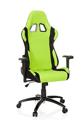 hjh OFFICE Racing-Stuhl Game Force Stoff, Armlehnen, Ergonomischer Sportsitz, Kopfstütze, Höhenverstellbar, Zocker-Sessel (grün/schwarz, Stoff) -