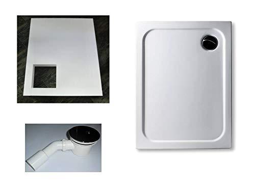 KOMPLETT-PAKET: Duschwanne 90 x 70 cm superflach 2,5 cm weiß Dusche mit GERADER UNTERSEITE Acryl + Styroporträger/Wannenträger + Ablaufgarnitur chrom DN 90