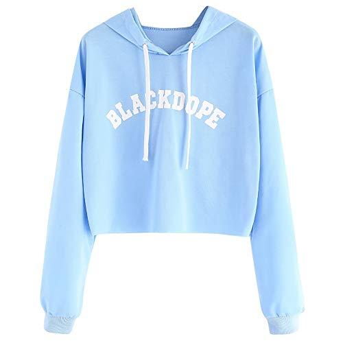 Riou Damen Kapuzenpullover Hoodie Pullover,Frauen Elegante Blusen Sweatshirt Langarmshirt Outerwear Frauen Langarm Brief Drucken Roh Saum Crop Sweatshirt Hoodie Bluse Top (XL, Blau)