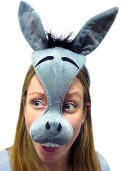 Esel Fasching Anzug Augen Maske auf Haarband mit Sound