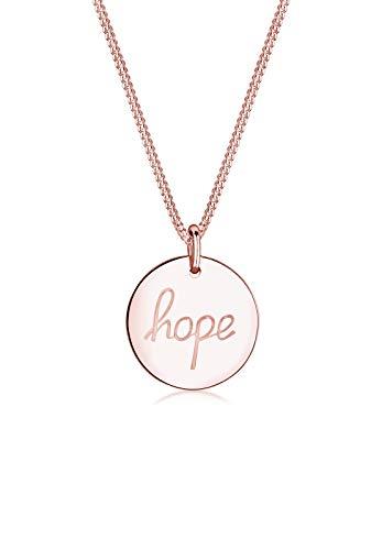 Elli Damen Schmuck Halskette Kette mit Anhänger Hoffnung Hope Schriftzug Wording Silber 925 Rosé Vergoldet Länge 45 cm