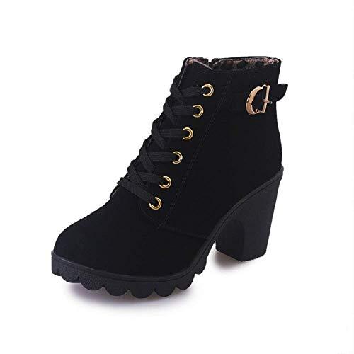 Botas Mujer Tacon Cordones Encaje Hasta el Tobillo Hebilla Pelaje Invierno Otoño Zapatos Casual Zapatillas Negro 36
