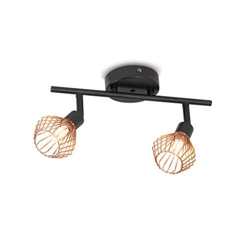 LED Industrieller Vintage Design Deckenstrahler Flurlampe Deckenlampe Kronleuchter Deckenleuchte Wohnzimmerlampe Einstellbar mit 2 Dreh-und Schwenkbaren Spots Metall G9*2,Schwarz-gold L30*W8*H12cm