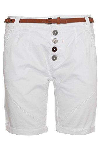 Sublevel Damen Chino-Shorts mit Flecht-Gürtel I Leichte Bermuda I Kurze Hose in Schwarz, Weiß, Grau & Rosé White L