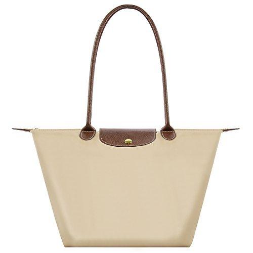 Bekilole, Tragetasche für Damen aus Nylon, Schultertasche für Reise, Strandtaschen Gr. Medium, Long Handle Beige