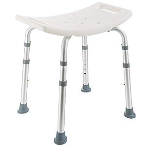 Arebos Duschhocker | Höhenverstellbar | Aluminium-Rahmen | Anti-Rutsch-Gummifüße | Sitzfläche mit Sicherheitsgriffen…