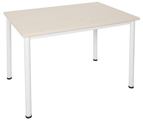 Schreibtisch / Besprechungstisch in verschiedenen Größen und Farben weißes Metallgestell Konferenztisch Arbeitstisch (B: 180 cm x T: 80 cm, Ahorn)