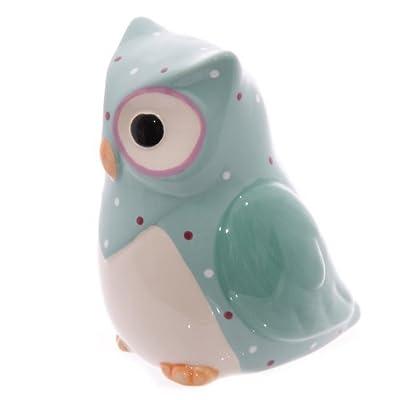 Ceramic Polka Dot Owl Money Box - Aqua