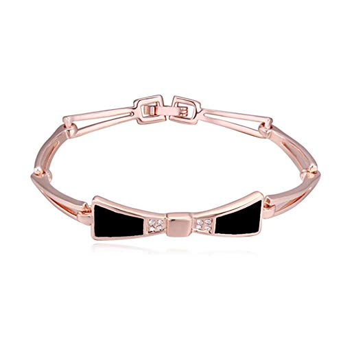 ZSML Rose Gold Frauen Schmuck Armbänder, Unique Bow tie Design Inlay Crystal Charming Bangle Armband-Gift,Black - Ring Inlay Onyx Black