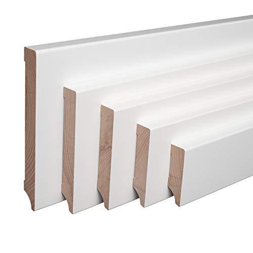 Echtholz-Sockelleisten Weiß lackiert Buche Massiv Weimarer Profil [SPARPAKET] (60mm Höhe, 10 Stück / 23lfm)