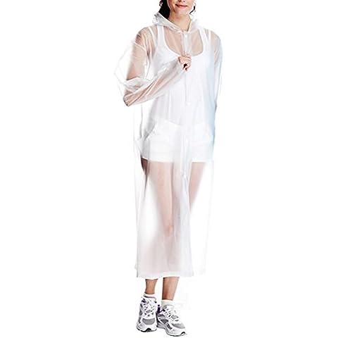 BEETEST Adulto Unisex Mujer Hombre al aire libre portable de la capa impermeable reutilizable de PVC transparente viento del poncho poncho de lluvia con capucha