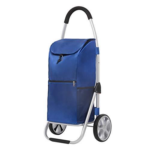 WYJW Aluminium Einkaufswagen, kaufen Lebensmittel Einkaufswagen Kletterwagen tragbare kleine Cart Folding Trolley Car (Farbe: F)