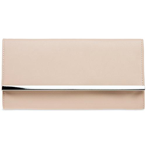 CASPAR TA393 elegante Damen Envelope Clutch Tasche Abendtasche, Farbe:rosa;Größe:One Size