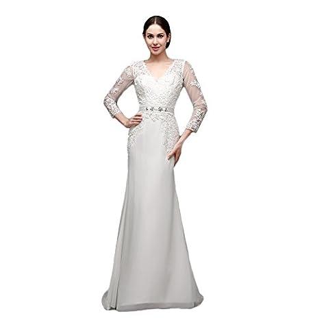 engerla Femme col en V manches 3/4en dentelle avec Motif sirène Plage robe de mariée - blanc - 44