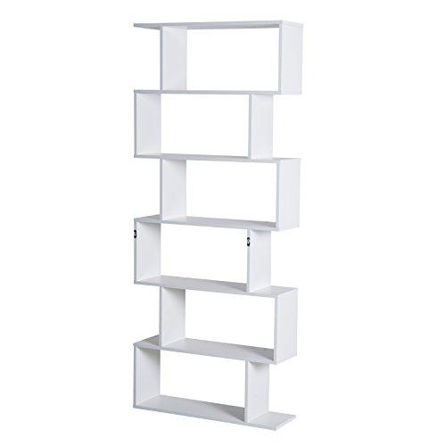 homcom Libreria di Design Moderno Scaffale Bianco, 80x23x192cm